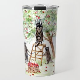 Cute Raccoons in the Orchard Travel Mug