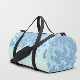 Light Aqua Blue Gradient Faux Glitter Diamonds Duffle Bag