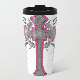 cross n flowers Metal Travel Mug