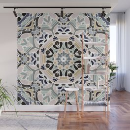Floral Multicolored Mandala with Light Linen Texture Wall Mural