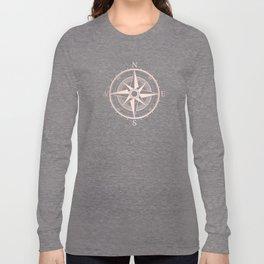 Rose Gold Compass Long Sleeve T-shirt