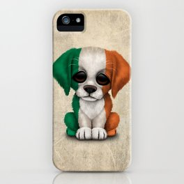 Cute Puppy Dog with flag of Ireland iPhone Case