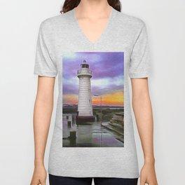 Donaghadee Lighthouse,Ireland. (Painting) Unisex V-Neck