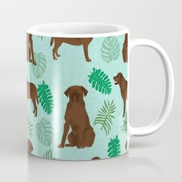 Chocolate Lab summer monstera tropical pure breed dog gifts Coffee Mug