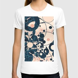 Distressed Navy and Peach Bubble Design T-shirt