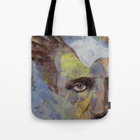 poe Tote Bags featuring Poe by Michael Creese