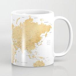 Gold world map with cities Coffee Mug