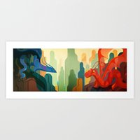 dragons Art Prints featuring Dragons by Chucco