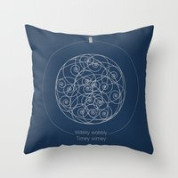 doctor Throw Pillows featuring Doctor Who: Wibbly Wobbly by Sof Andrade