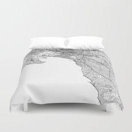 Melbourne White Map Duvet Cover