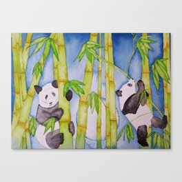 Playful Pandas by Moonlight Canvas Print