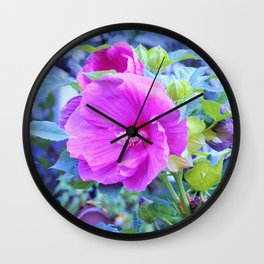 Elegant Pink Hibiscus Flower with Wavy Aqua Foliage Wall Clock