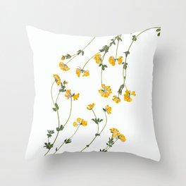 Yellow Lotus Flower Botanical Print Throw Pillow