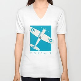 F4U Corsair Fighter Aircraft - Cyan Unisex V-Neck
