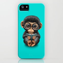 Cute Blue Baby Chimp Reading a Book iPhone Case