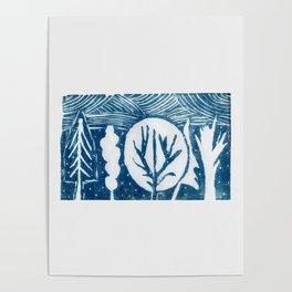 linocut trees print Poster