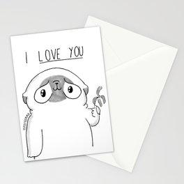 PUG Mochi - I love you Stationery Cards