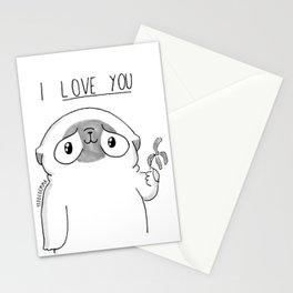 PUG Mochi - I love you Stationery Cards