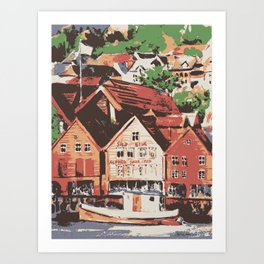 Old warf of Bergen Norway Art Print