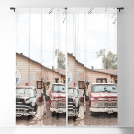 Vintage American Cars On Historic Route 66 In Arizona Photo Art Print | USA Color Travel Photography Blackout Curtain