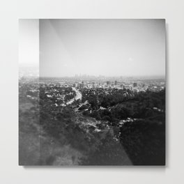 Los Angeles Skyline from Griffith Observatory - Black and White Film Photograph Metal Print