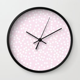 Palest Pink and White Polka Dot Pattern Wall Clock