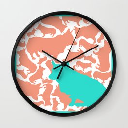 Corgi Collage with Coral and Teal Wall Clock