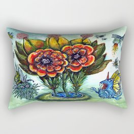 Surreal watercolor flowers and bugs Rectangular Pillow