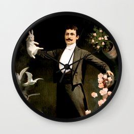 Vintage Rabbit Doves and Magician Wall Clock