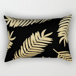 Gold Glitter Palms  |  Black Background Rectangular Pillow