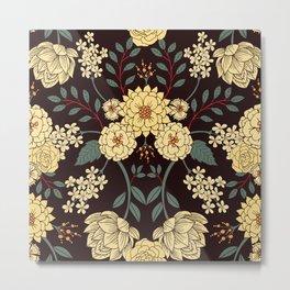 Teal, Cream, Red, Orange & Brown Flowers - Pretty Floral Pattern Metal Print