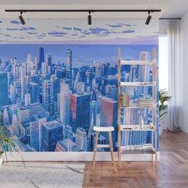 Blue Chicago Skyline Wall Mural