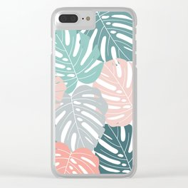 Tropical Leaves Monstera deliciosa Clear iPhone Case