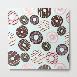 Vector pattern with sweet brown chocolate donuts for design Metal Print