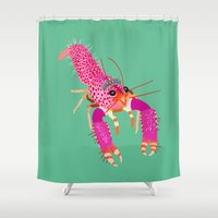 lobster Shower Curtains featuring lobster by Elise Cayouette
