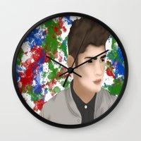 1d Wall Clocks featuring Zayn 1D by Maranda Rae