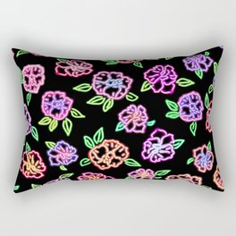 Neon Flowers Print Rectangular Pillow