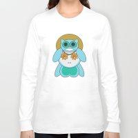 tina fey Long Sleeve T-shirts featuring Tina Tanuki by Sonya Saturday