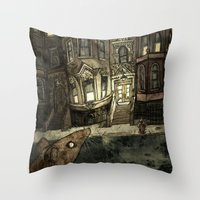 rat Throw Pillows featuring Rat by Jordan Walsh