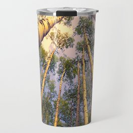 Aspen Trees Against Sky Travel Mug