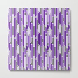 Modern Tabs in Purple and Lavender on Gray Metal Print