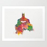 Bat man Watercolor Art  Art Print