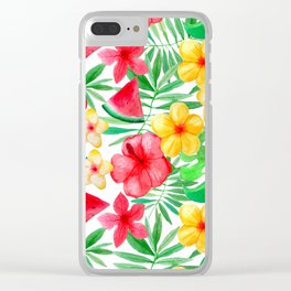 Happy Summer Life- Aloha Flowers and Melon - Pattern Clear iPhone Case