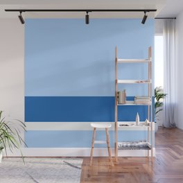 Solid Ice Blue w/ Navy Blue and White Divider Lines - Illustration Winter Cool Cold Abstract Wall Mural