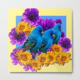 THREE BLUE BIRDS & PURPLE YELLOW FLOWERS Metal Print
