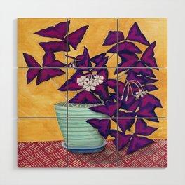 Purple Shamrock Houseplant Painting Wood Wall Art