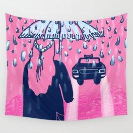 Rainy day taxi Wall Tapestry