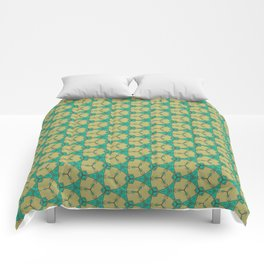 Hex Pattern 65 - Taupe/Turquoise Comforters