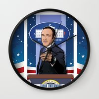 house of cards Wall Clocks featuring House of Cards: Frank Underwood USA President by Akyanyme