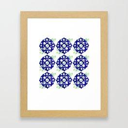 ethnic pattern blue Framed Art Print